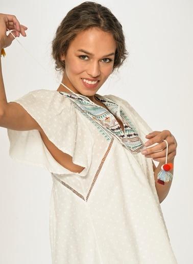 Loves You Keten Karışımlı Nopeli Nakışlı A Form Elbise Beyaz
